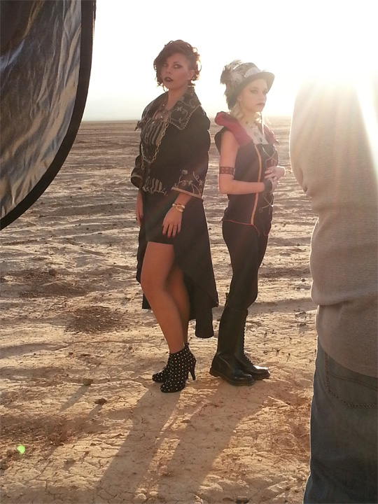 behind-the-scenes shot of myself and models Tina Carbaugh and Katrina Wilkinson.