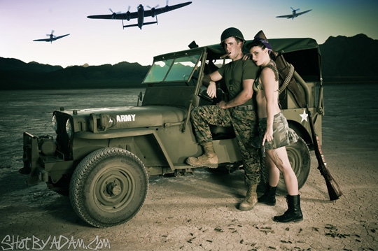 Models Robert Runkle and Mariah McBride pose with a 1947 Army Jeep at one of the nearby dry lake beds outside of Las Vegas.