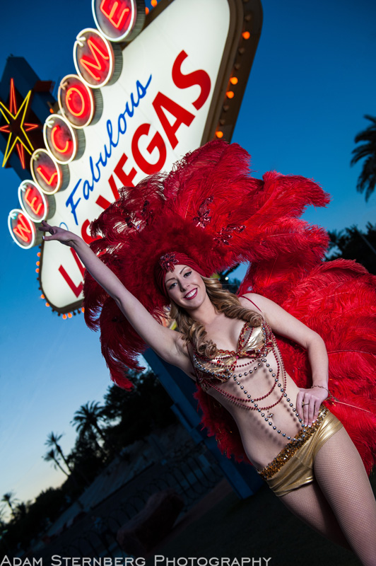 Vegas Showgirl / Street Performer Kalliann Haas shows off her amazing costume at the Welcome to Las Vegas Sign.