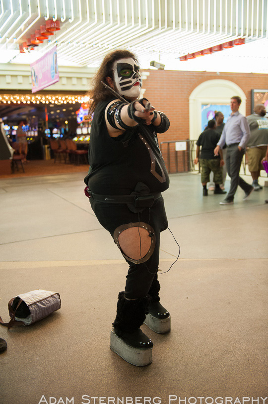 There have been several drummers for Kiss over the years from Peter Criss to Eric Singer. This street performer looks like he ate all of them! Still though, he's found his niche and looks great doing it!