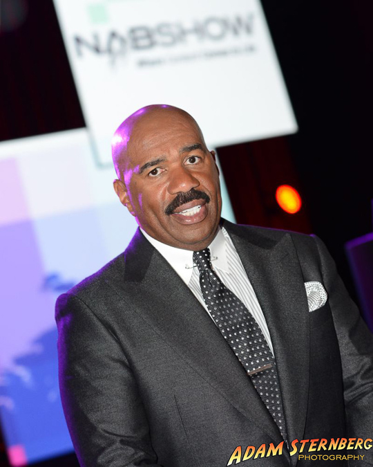 Entertainer Steve Harvey at his NAB Award banquet. Steve was inducted into the National Association of Broadcasters Hall of Fame at this event.