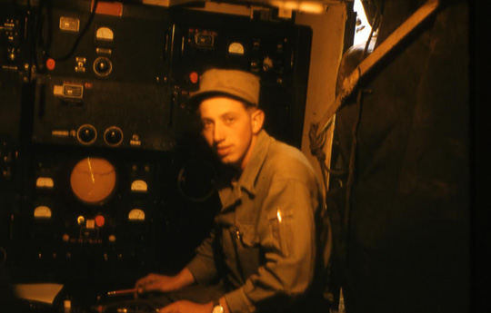 Here is my father, PFC Sternberg, operating a radar unit during the Korean War.