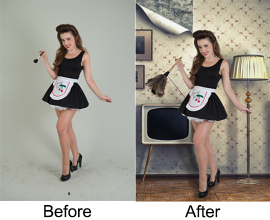 This is a before and after photo of the shoot I did with model Sarah Jane Woodall. We didn't have a feather duster so she used a makeup brush as a reference mark. All the other components were added in post.