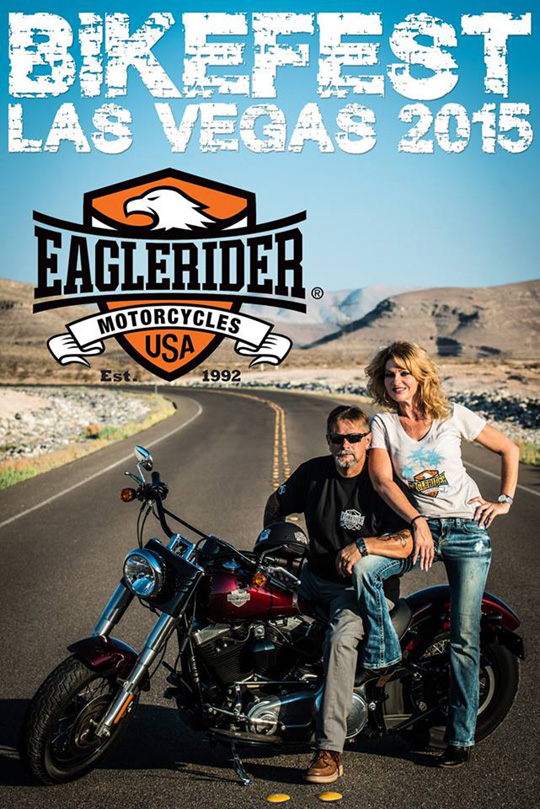 "Another I shot and designed that was used by the Las Vegas Bikefest sponsor, EagleRider Motorcycles. Here, Lonnie ""Goose"" Reed poses with model Christine for a great marketing photo!"