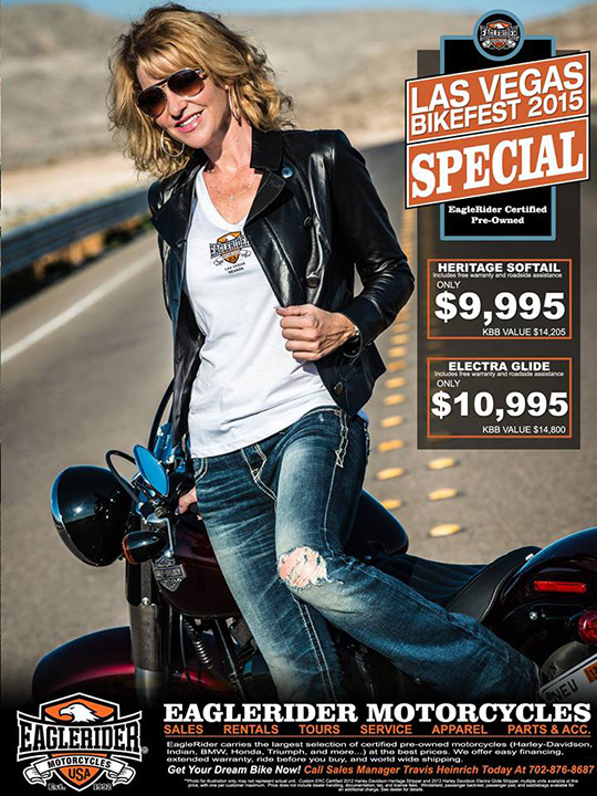Christine rocks this photo for EagleRider Motorcycles!